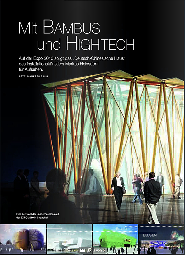 "Expo Shanghai 2010 Manfred Baur, ""Mit Bambus und Hightech, in: natur + kosmos NK magazin, Mai 2010 